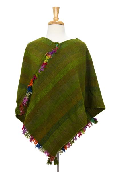 Zapotec wool poncho, 'Beautiful Prairie' - Hand Woven Short Green Wool Zapotec Women's Poncho