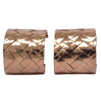 Pink gold plated half hoop earrings, 'Chuspata Charm' - Mexican Hand Woven Pink Gold Plated Half Hoop Earrings