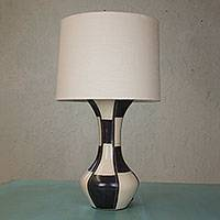Ceramic lamp, 'Chess' - Modern Black and White Handcrafted Terracotta Table Lamp