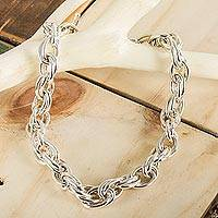 Sterling silver chain necklace, 'I Am' - Artisan Crafted Taxco Silver Jewelry Chain Necklace
