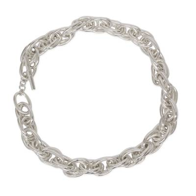 Artisan Crafted Taxco Silver Jewelry Chain Necklace