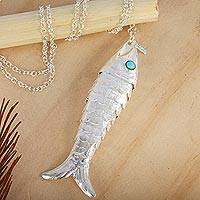 Sterling silver pendant necklace, 'Taxco Fish' - Taxco Artisan Crafted Sterling Silver Fish Pendant Necklace