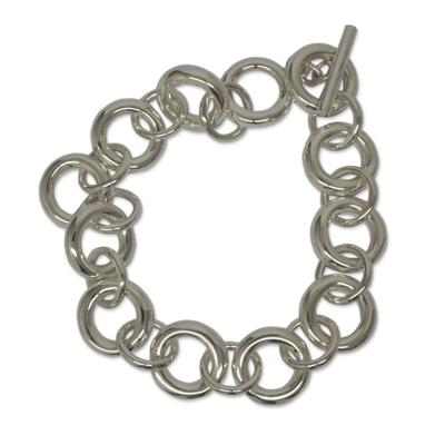 Sterling silver link bracelet, 'Artful Minimalist' - Sterling Silver Link Bracelet Taxco Artisan Jewelry