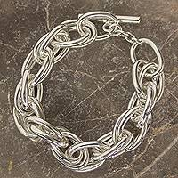 Sterling silver chain bracelet, 'I Am' - Artisan Crafted Taxco Silver Jewelry Link Bracelet
