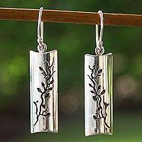 Silver flower earrings, 'Cherry Tree'