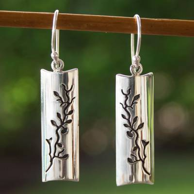 Silver flower earrings, 'Cherry Tree' - Artisan Crafted Taxco Silver Hook Earrings from Mexico