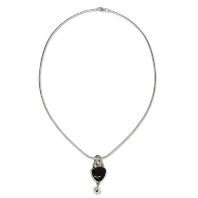 Obsidian pendant necklace, 'Fascination' - Women's Handmade Taxco Silver 950 Necklace with Obsidian