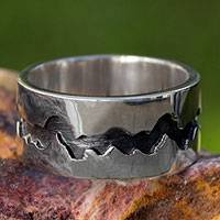Men's silver band ring, 'Dark River'
