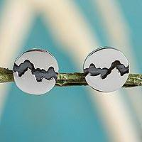 Silver button earrings, 'Dark River' - Hand Crafted Taxco Silver 950 Button Earrings from Mexico