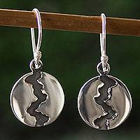Silver dangle earrings, Dark River