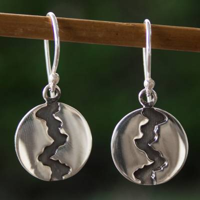 Silver dangle earrings, 'Dark River' - Handmade Taxco Silver 950 Petite Dangle Earrings