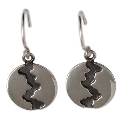 Silver dangle earrings, 'Dark River' - Handmade Taxco Silver 950 Petite Dangle Earrings
