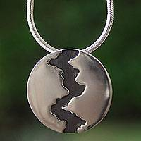 Silver pendant necklace, 'Dark River'