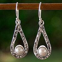 Cultured pearl dangle earrings, 'Luminous Rain' - Handcrafted Textured Taxco Silver and White Pearl Earrings