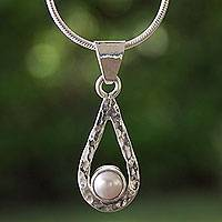 Cultured pearl pendant necklace, 'Luminous Rain' - White Pearl Handcrafted Textured Taxco Silver Necklace