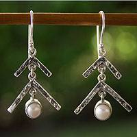 Cultured pearl dangle earrings, 'Silver Pine' - Handmade Geometric White Pearl Taxco Silver Earrings