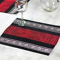 Cotton and silk placemats, 'Scarlet Myths' (set of four) - Cotton Silk Hand Woven Placemats with Deer and Frog Set of 4