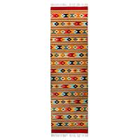 Zapotec wool runner rug, 'Zapotec Stars' (3x10)