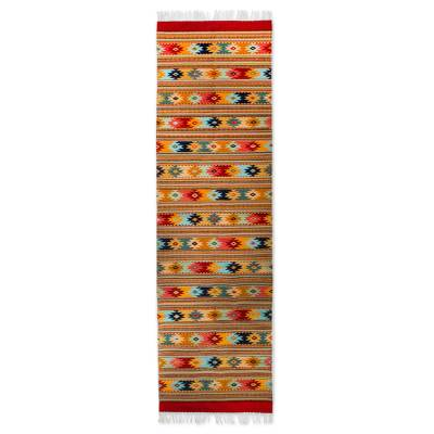 Zapotec wool runner rug, 'Zapotec Stars' (3x10) - Star Design on Hand Woven Zapotec Wool Runner Rug (3x10)