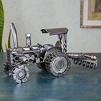 Auto parts sculpture, 'Rustic Tractor'