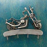Auto part key rack, 'Rustic Motorcycle' - Mexico Auto Part Sculpture Handmade Bike Theme Key Rack