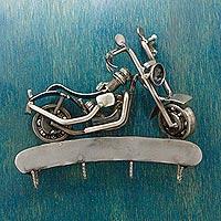 Auto part key rack, 'Rustic Motorcycle' - Mexico Auto Part Sculpture Handmade Bike Theme Key Rack