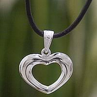 Sterling silver heart necklace, 'Modern Love' - Romantic Hand Crafted Silver Heart Necklace and Leather Cord