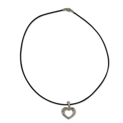 Romantic Hand Crafted Silver Heart Necklace and Leather Cord