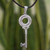 Sterling silver pendant necklace, 'Key to Life' - Mexico Sterling Silver Key Pendant on Black Leather Necklace