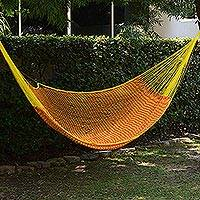 Cotton hammock, 'Saffron Sun' (double) - Mexican Hand Woven Yellow Cotton Hammock 400 lb Capacity