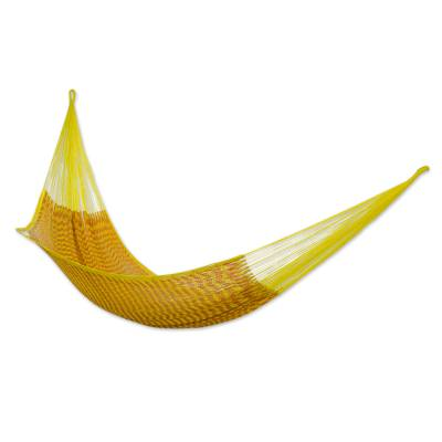 Mexican Hand Woven Yellow Cotton Hammock 400 lb Capacity
