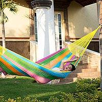 Cotton hammock, 'Yucatan Feast' (double) - Hand Crafted Maya Multi Color Double Cotton Hammock with Ste