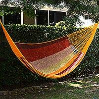 Cotton hammock, 'Tropical Paradise' (double) - Mexican Cotton Double Hammock in Burgundy Pink and Yellow