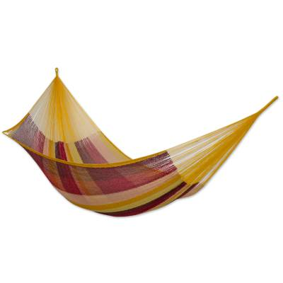 Mexican Cotton Double Hammock in Burgundy Pink and Yellow