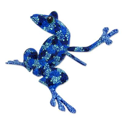 Wood figurine, 'Blue Dancing Frog' - Artisan Crafted Blue Wood Frog Figurine Sculpture