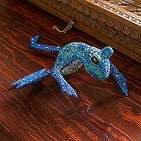 Wood figurine, 'Blue Oaxaca Frog' - Alebrije Style Frog Figurine Wood Sculpture Crafted by Hand