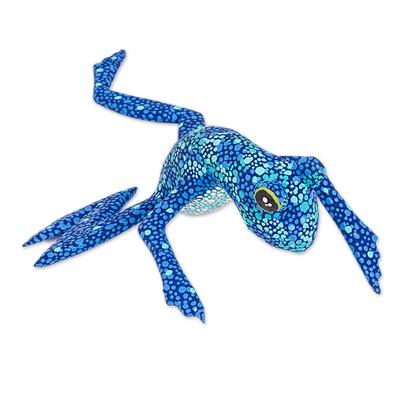 Wood figurine, 'Blue Oaxaca Frog' - Alebrije Style Frog Figurine Wood Sculpture Crafted by Hand