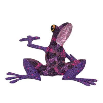 Wood figurine, 'Purple Dancing Frog' - Purple Hand Crafted Alebrije Style Frog Figurine Sculpture