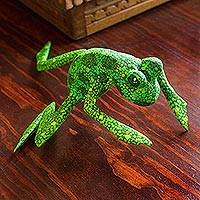 Wood figurine, 'Green Oaxaca Frog'