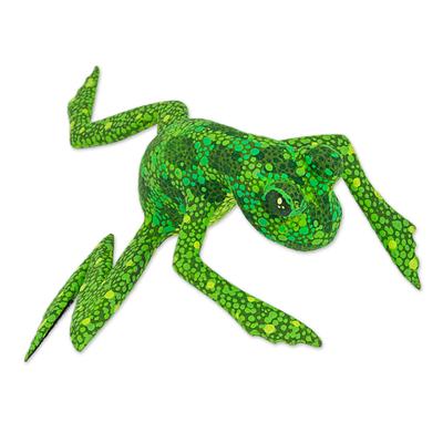 Wood figurine, 'Green Oaxaca Frog' - Green Alebrije Wood Frog Sculpture Painted by Hand