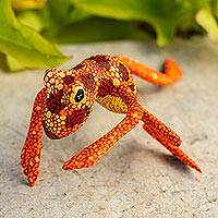 Wood figurine, 'Orange Oaxaca Frog' - Red Orange Alebrije Style Frog Sculpture Crafted by Hand