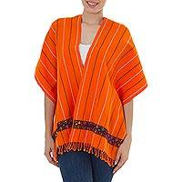 Cotton rebozo shawl, 'Orange Maya' - Multi Color Glyph Brocade on Hand Woven Rebozo Shawl