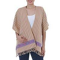 Cotton rebozo shawl, 'Prairie Blooms' - Beige Cotton Mexican Rebozo Shawl with Lilac Brocade