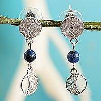 Lapis lazuli filigree earrings, 'Crescent Magic' - Lapis Lazuli in Handmade Sterling Silver Filigree Earrings