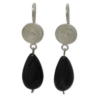 Filigree Sterling Silver Earrings with Onyx Gems