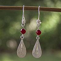 Sterling silver filigree earrings, 'Impassioned Fire' - Filigree Sterling Silver Earrings with Bright Red Gemstones
