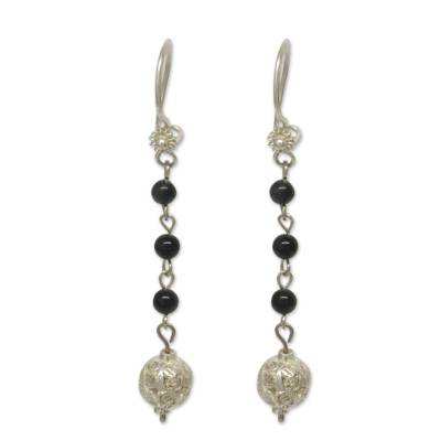 Obsidian and Sterling Silver Filigree Earrings from Mexico