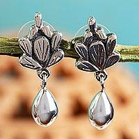 Sterling silver flower earrings, 'Cacti Raceme' - Sterling Silver Artisan Crafted Earrings from Mexico
