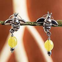 Jade dangle earrings, 'Honey Bees' - Sterling Silver Bee Earrings with Yellow Jade Gemstones