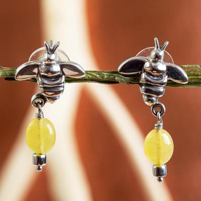 Jade dangle earrings, 'Honey Bees' - Sterling Silver Bee Earrings with Yellow Jade Gemstones